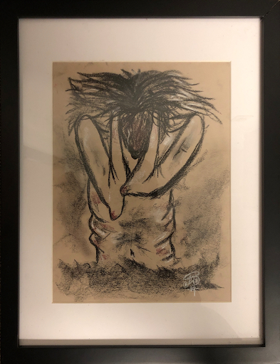 Artist: Johanna Lopez Work: Separation (charcoal and pastel on paper) ICE Detention at Suffolk County House of Corrections Boston, MA