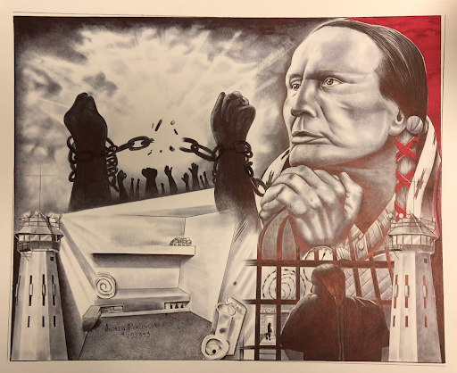 Artist: Andrew A. Valencia Work: Russel Means Avenal State Prison Avenal, CA