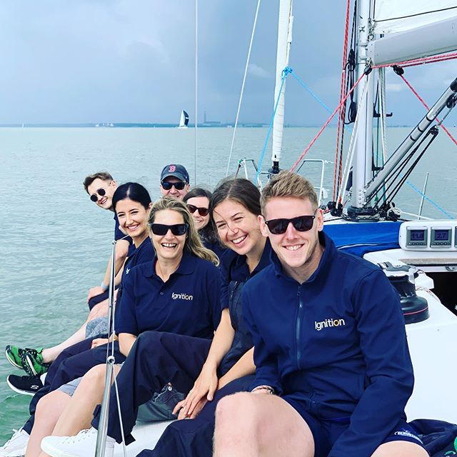 Team Ignition 'hiking out' and ready for the race. #cowesweek #Sailing #eventprofs #teamignition #teambuilding