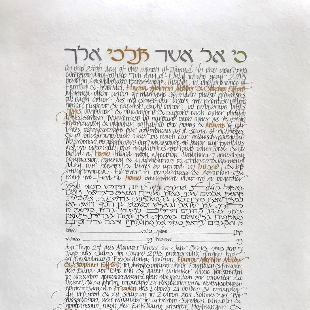 text with watercolor top quote in green ketubah