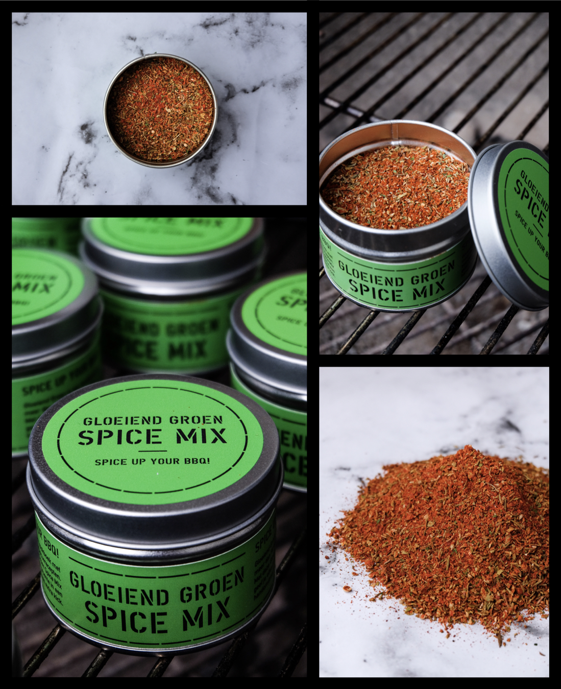 Spice Up Your BBQ - De Gloeiend Groen Spice Mix! Voor de lancering van Gloeiend Groen hebben wij een limited edition specerijen mix ontwikkelt. De eerste 250 kopers van het boek krijgen een Gloeiend Groen Spice Mix cadeau.Ingrediënten: oregano, paprikapoeder, gerookt paprikapoeder, cayenne, foelie, venkelzaad, sumak, tijm, fenegriek, roze peperkorrels, korianderzaad en peterselie.