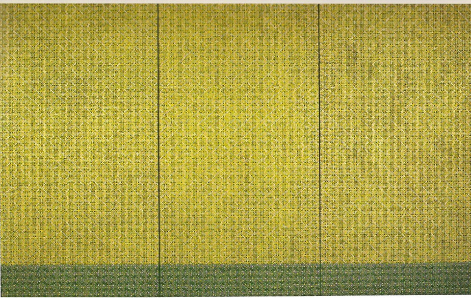 """Ding Yi, """"Appearances of crosses (triptych), 2001, acrylic on tartan, 3rd of 3 works (260x140cm) (Courtesy of dslcollection)"""