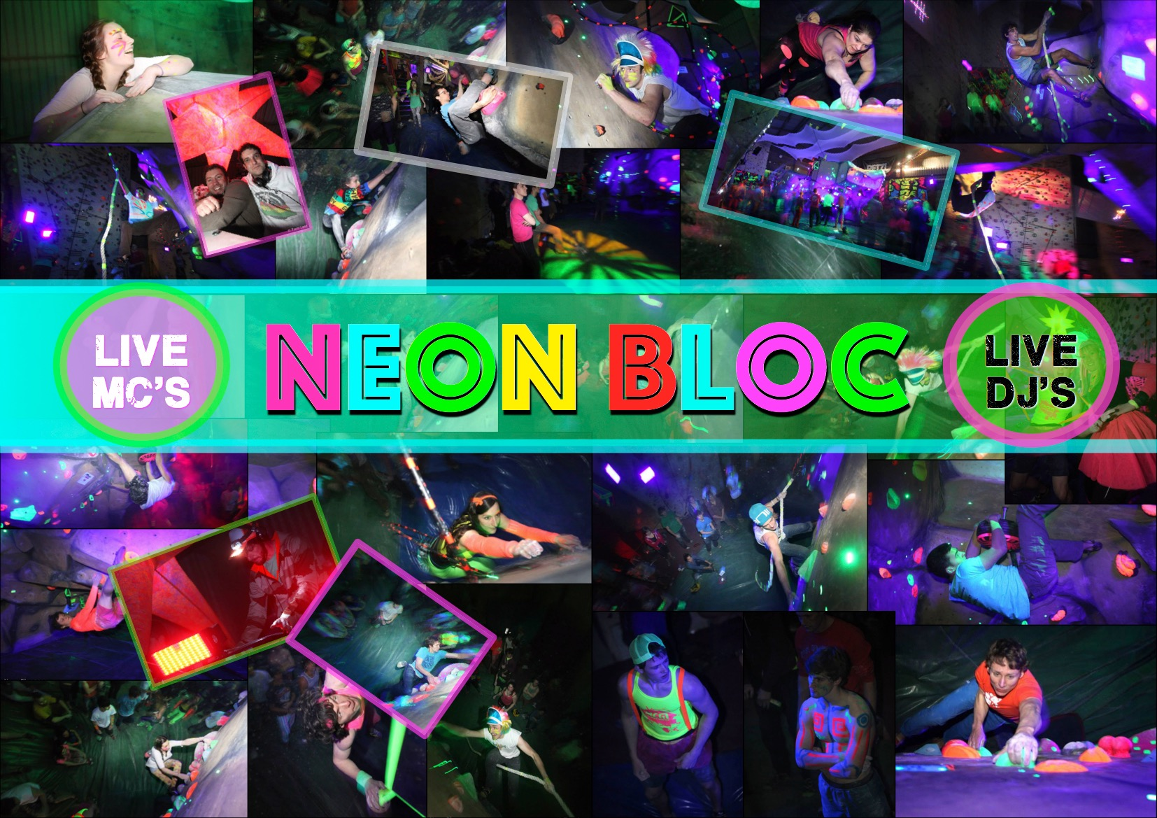 NEON BLOC - Back once again....The Barn team invite you to the uk's original UV boulder event.......Neon Bloc. Come witness a night of crazy problems, awesome light shows and live DJ's.