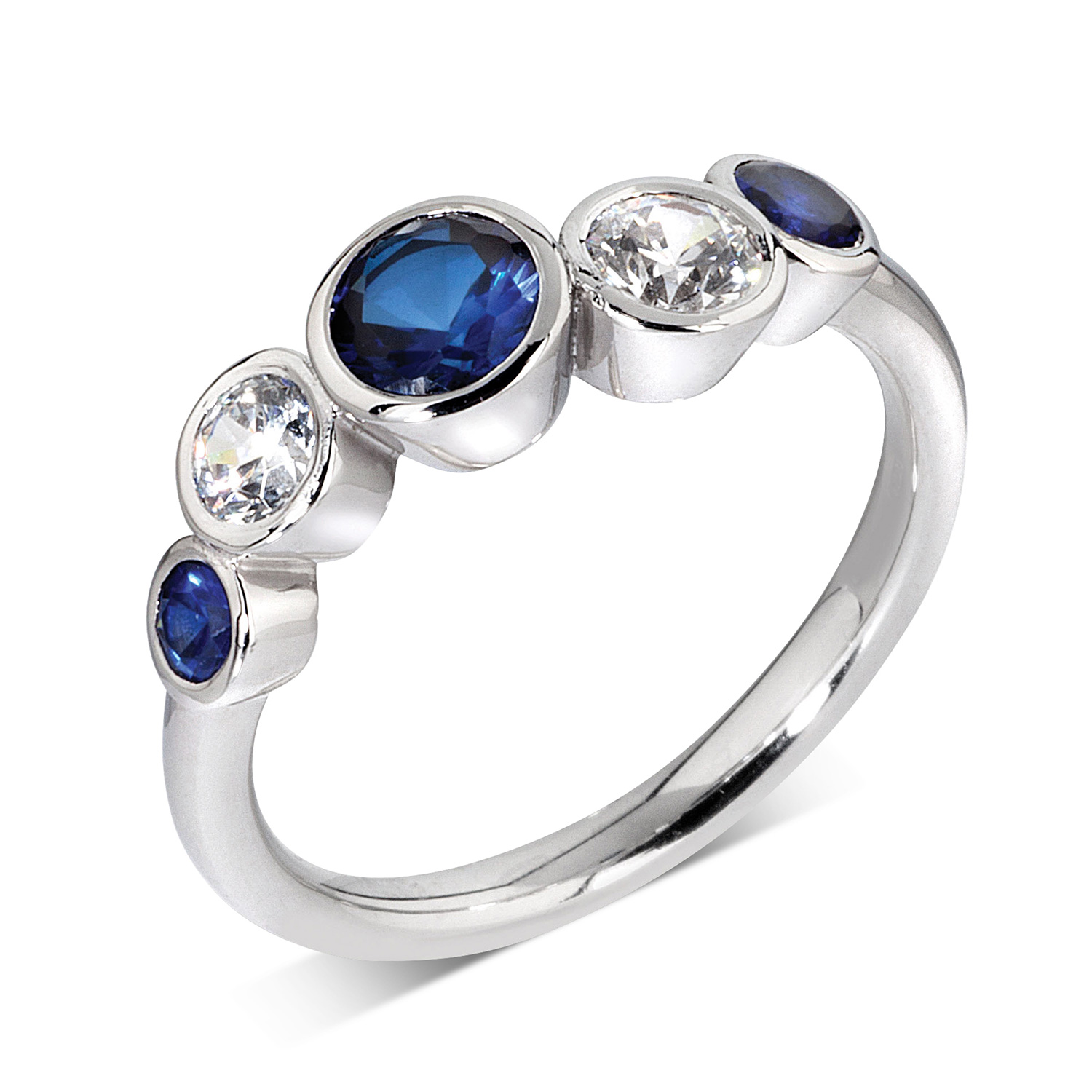 DIAMOND AND SAPPHIRE RUB-OVER RING