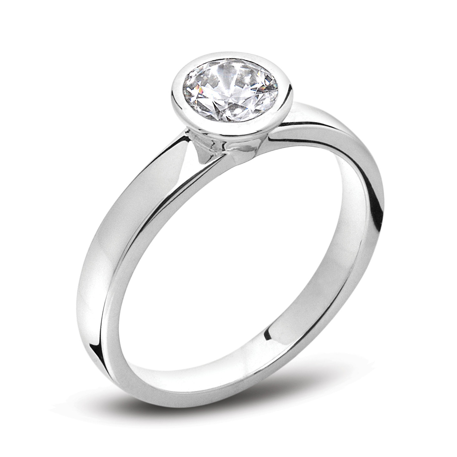 SIMPLE RUB-OVER DIAMOND ENGAGEMENT RING