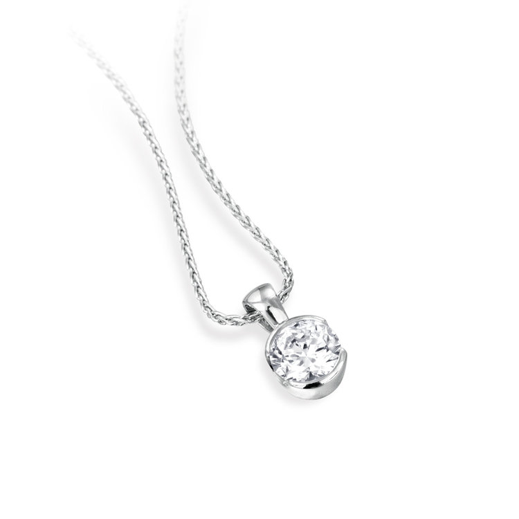 PARTIAL RUB-OVER DIAMOND PENDANT