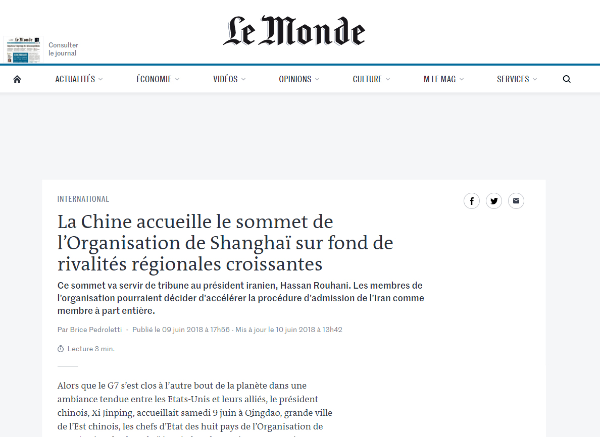 Commentary in Le Monde on the SCO 18th Summit in Qingdao, China, June 2018
