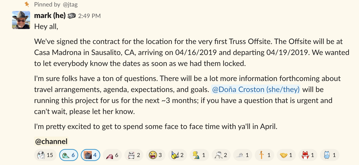 The Slack announcement that started it all..