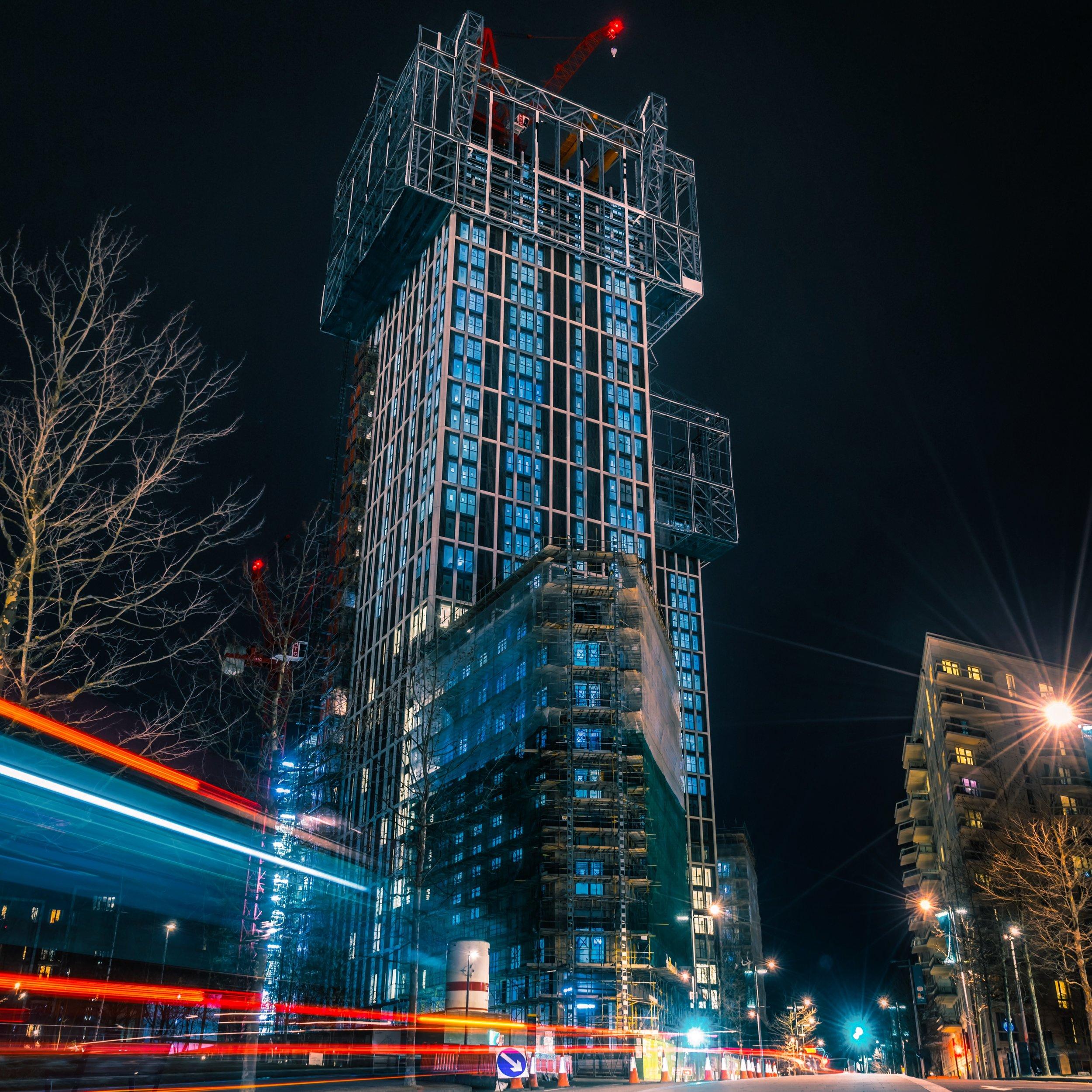 Plot N08 under construction, East Village, London E20 (   Victory Plaza   ).
