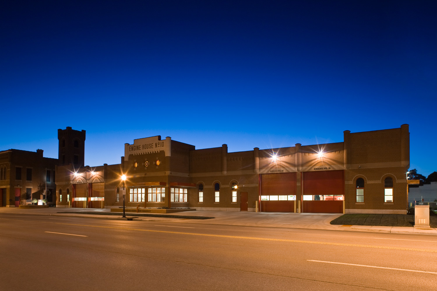 Fire Station No. 10 at Night