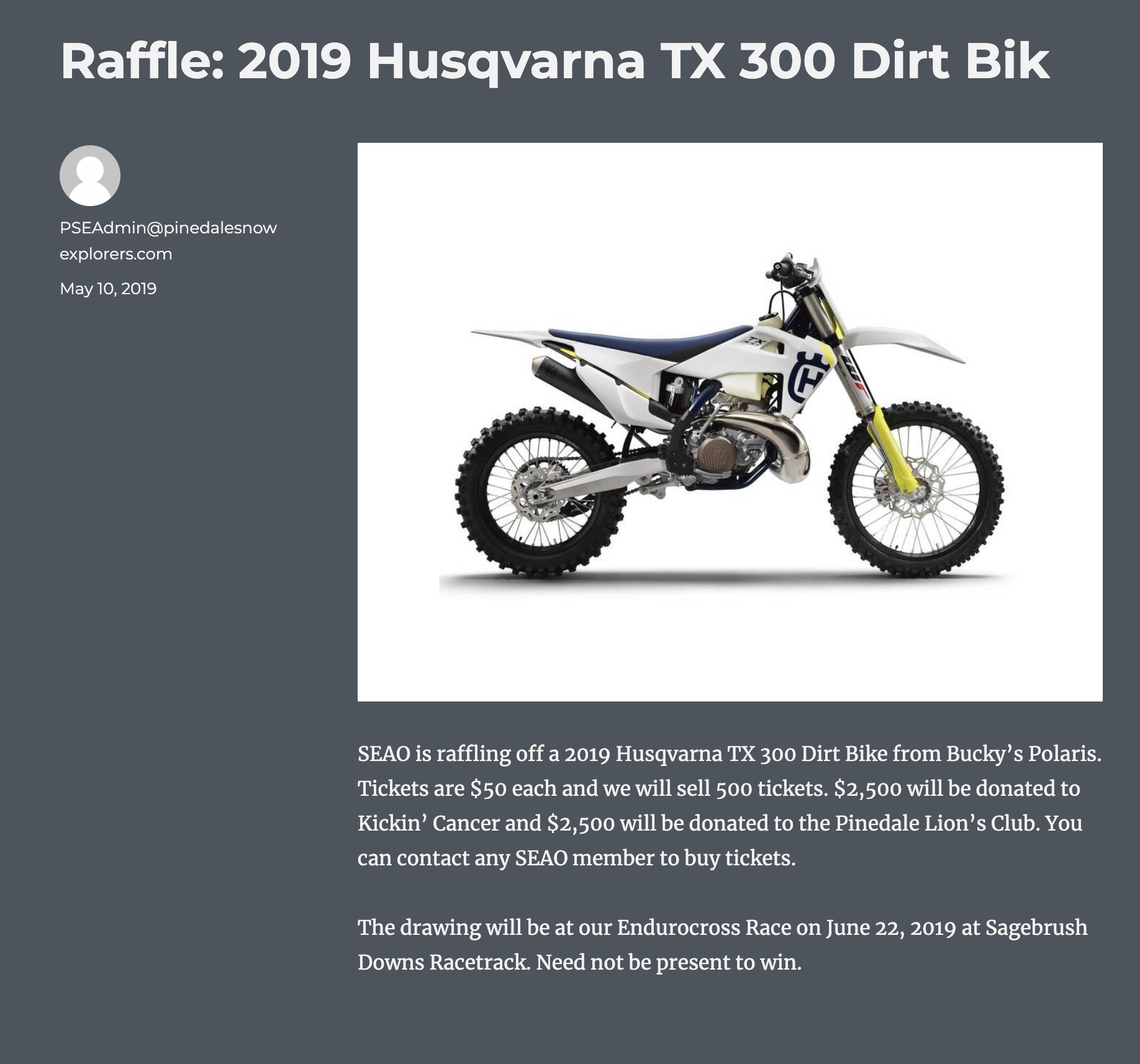 Pinedale Snow Explorers Raffle - June 22, 2019Sagebrush Downs Racetrack