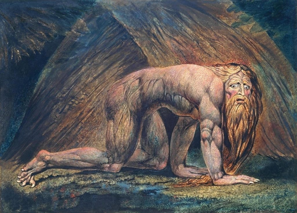 "Nebuchadnezzar (1795) by William Blake (1757-1827)  God humbled the King of Babylon for his pride, making him like a beast of the field. When his chastisement was done, the King blessed the Lord, for ""those who walk in pride He is able to humble."" (Daniel 4:4-37)"
