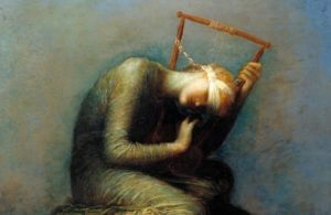 """""""Hope,"""" by George Frederick Watts - Oil, 1886. Cut off from God, Hope cannot bear to look on the world. Neither can she make sweet music to console the suffering, for her lyre is broken. Advent calls us to gaze upon Jesus and to announce glad tidings of his coming. In Advent, Hope awakens and overcomes our fear and despair."""