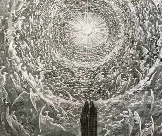 """""""The Empyrean,"""" or """"The Highest Heaven"""" by Gustave Dore, an illustration from Dante's Paradiso of Dante and Beatrice beholding the glory of God. It is easy to forget that our life is moving towards something other than death. Advent reminds us that we are destined to see the glory of God, and spurs us on to live in that hope."""