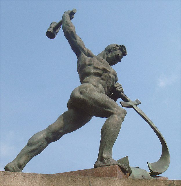 """""""Let Us Beat Our Swords Into Plowshares,"""" by Russian sculptor Evgeny Vuchetich (1959). The statue looks longingly to a day when human strength will forever be put to peaceful and life-giving ends. Yet, as a gift from a violent nation (the Soviet Union) to a weak and ineffectual world congress (the United Nations), the statue also bears witness to the evil in us that makes peace impossible."""