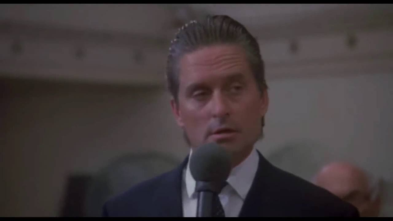 """Greed, for lack of a better term, is good."" Michael Douglas as Gordon Gekko from the 1987 film  Wall Street ."