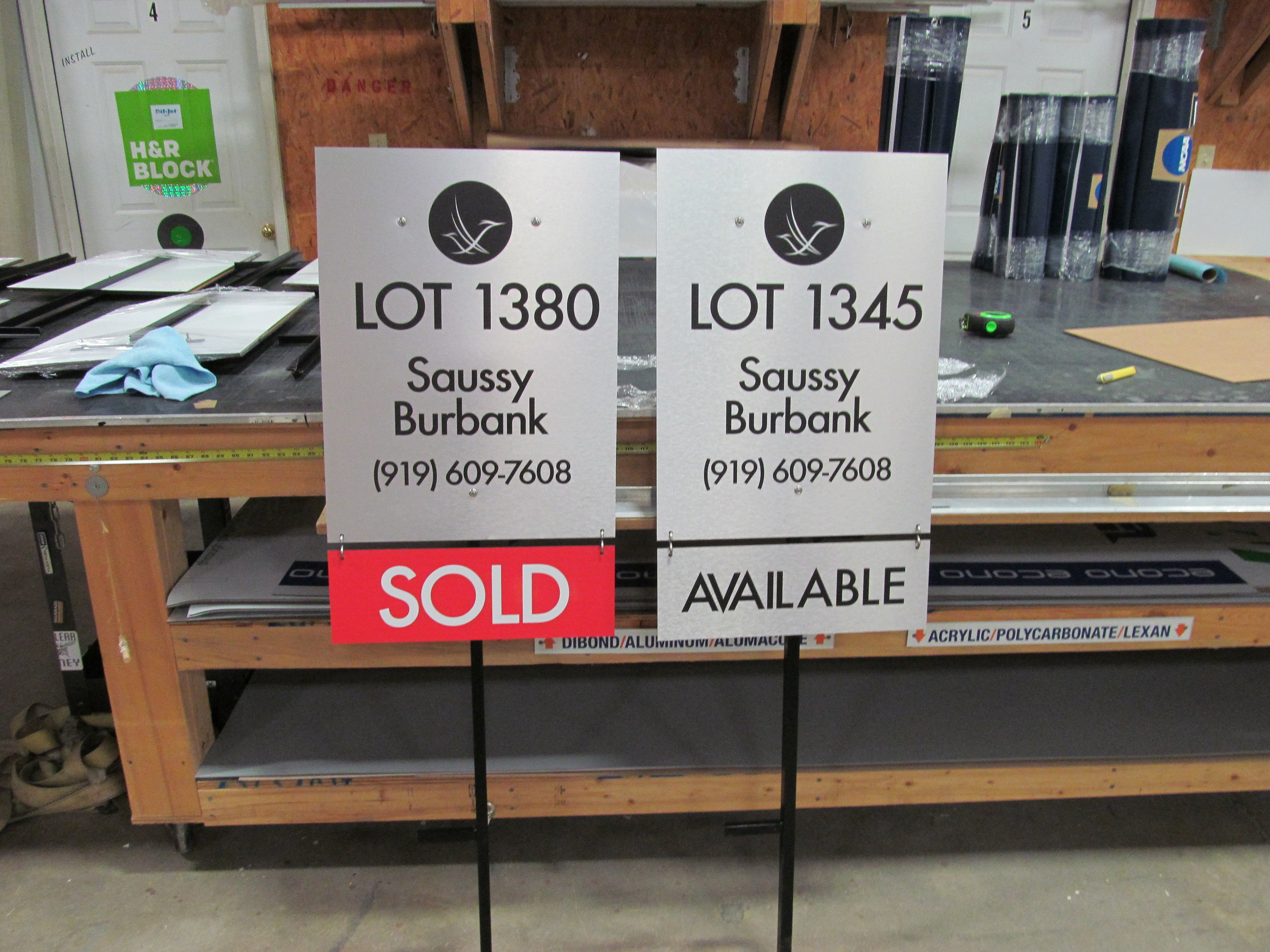 ColorGraphic is the go to shop in the Triangle for real estate signs. Our custom lot signs can be made from any substrate- check out these unique brushed aluminum lot signs!