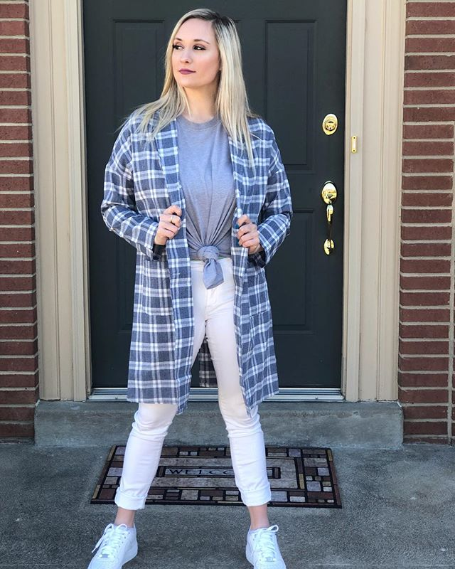 One of our gorgeous spring interns modeling our Blue Plaid Blazer 😍 Tap the picture to shop! Save 15% off your order with code SPRING at checkout! Ends tomorrow at midnight.