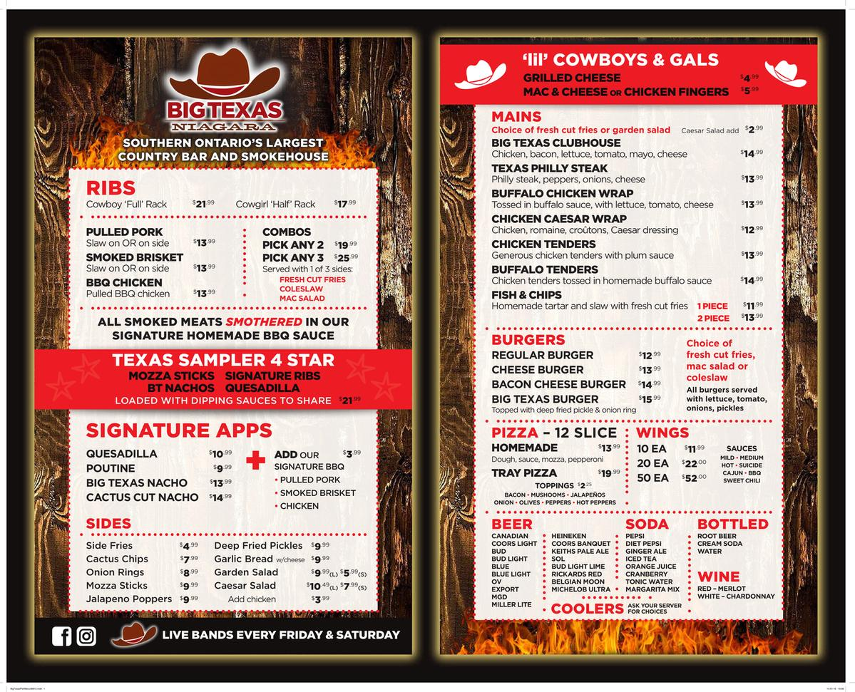 BIG TEXAS MENU