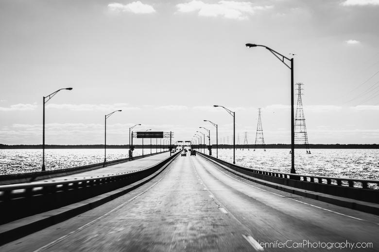black and white james river bridge