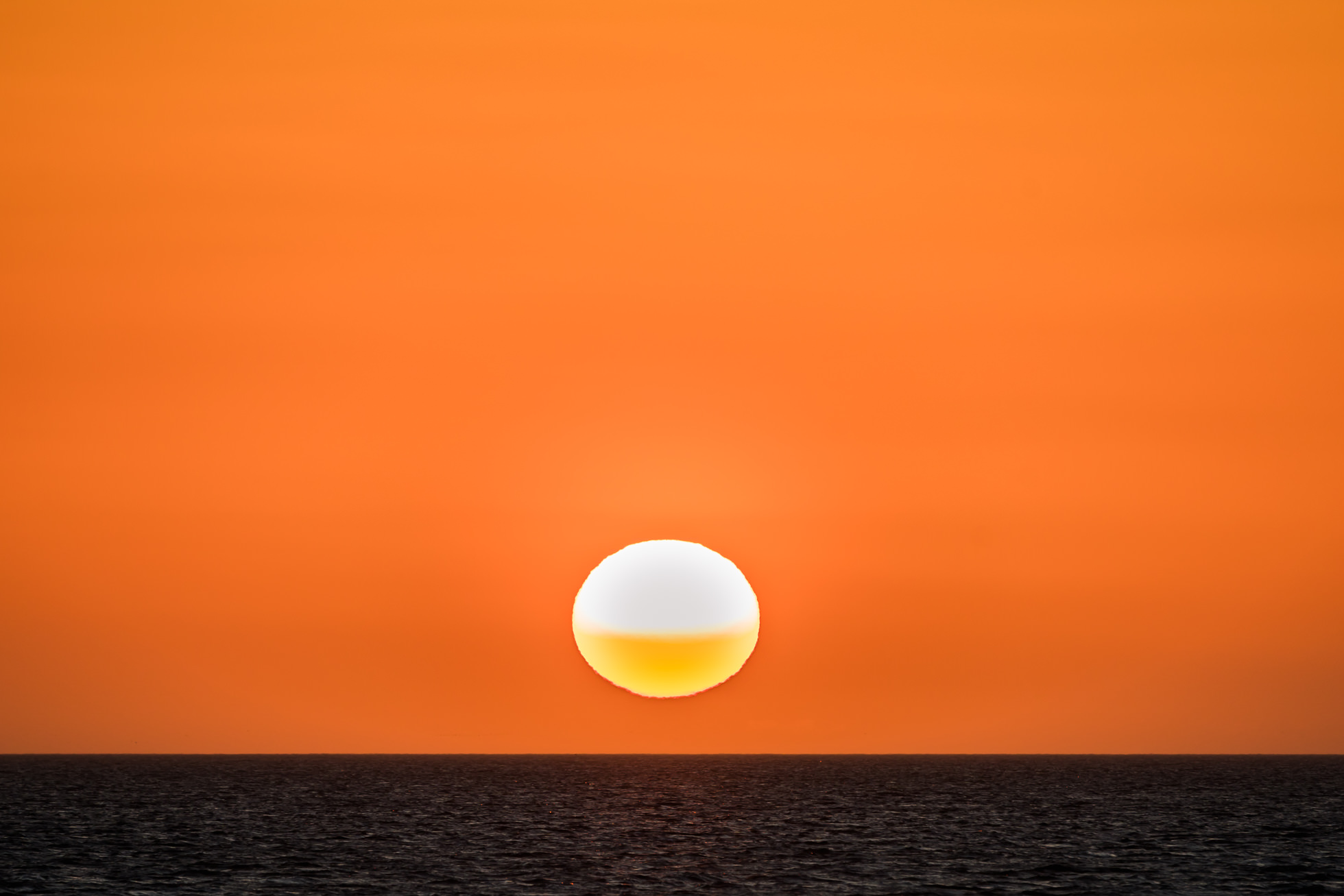 Orange sunset over Pamlico Sound buxton cape hatteras national seashore outer banks North Carolina