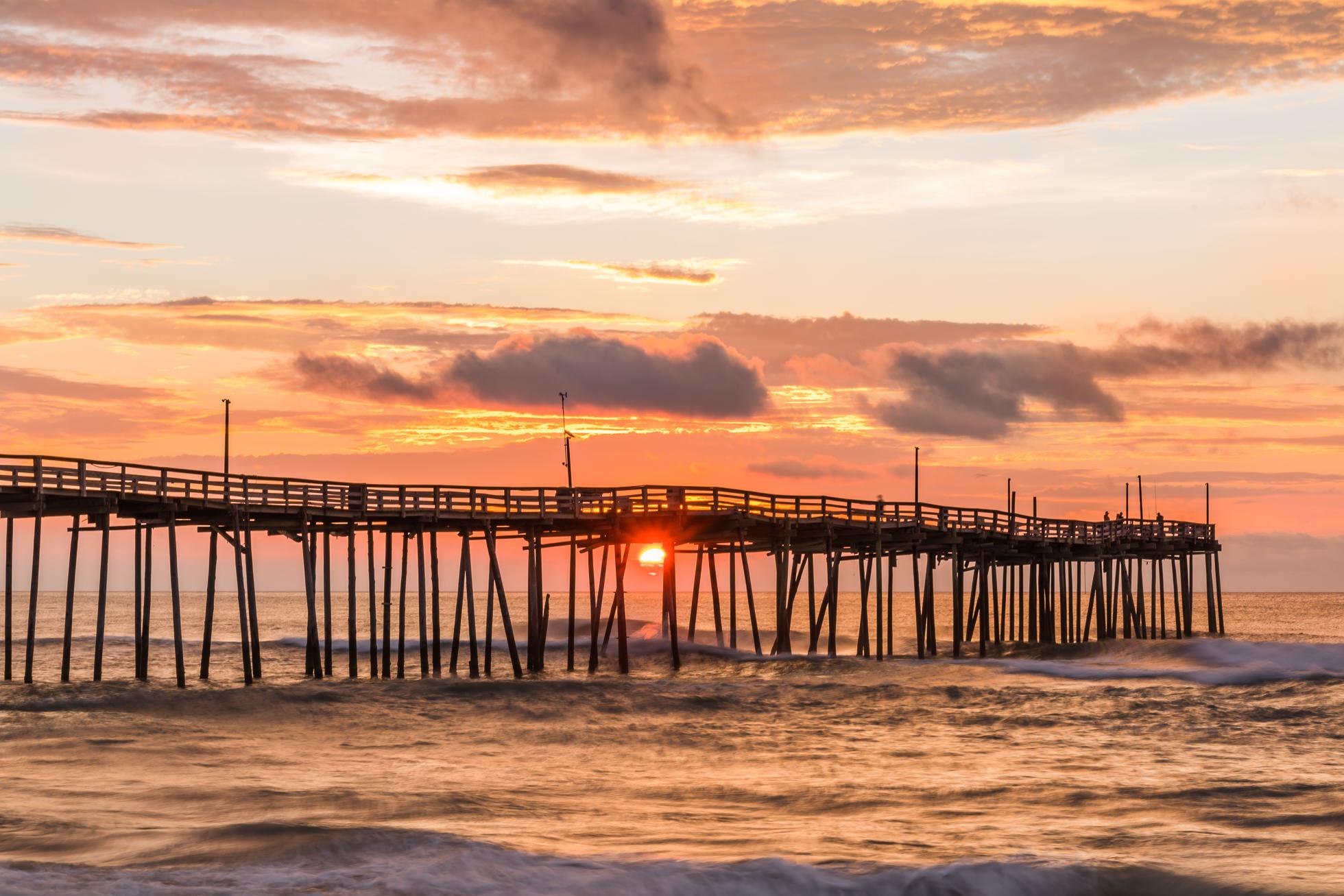 Sunrise at the avon fishing pier outer banks north carolina