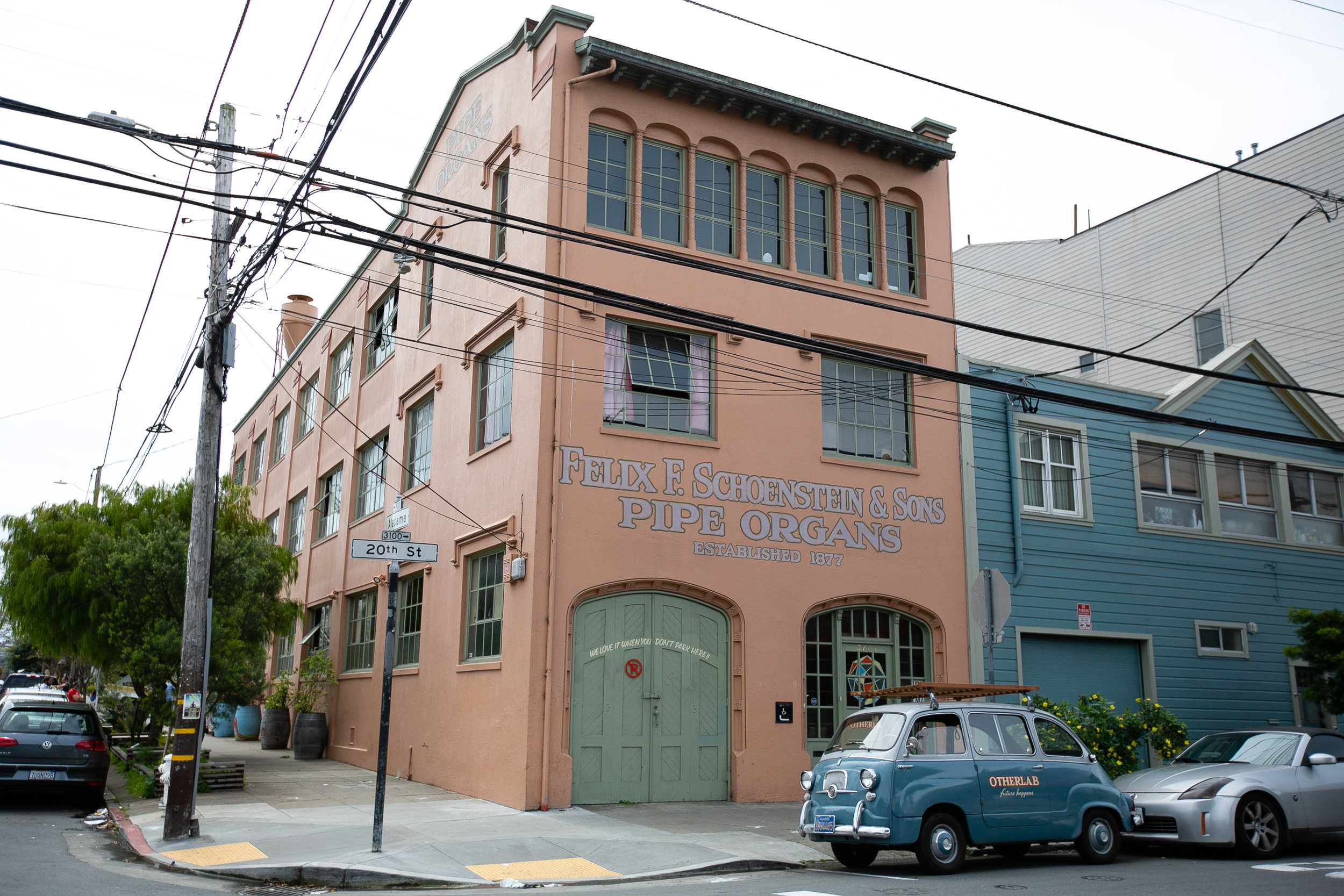 We live in the old   Schoenstein Organ Factory building     in the heart of San Francisco's Mission district.