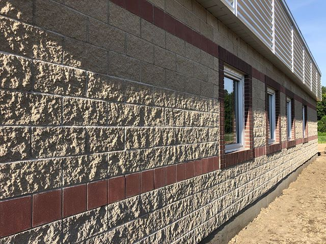 Fantastic use of contrasting concrete masonry products and colors by MAURICE SOULODRE ARCHITECT LTD. Located at Red Earth Health Center.