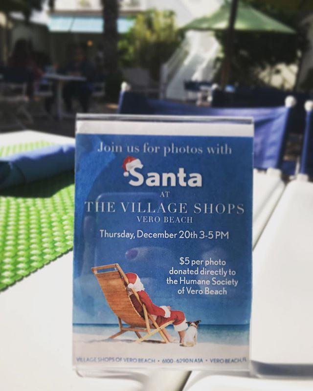Santa Claus is coming to town! Join us here at the Village Shops on Thursday 3-5pm to take a photo with Santa- It will be $5 per photo and all proceeds will be donated directly to the Humane Society of Vero Beach. 'Tis the season for giving! #VeroBeach #VillageShops #HumaneSocietyOfVeroBeach
