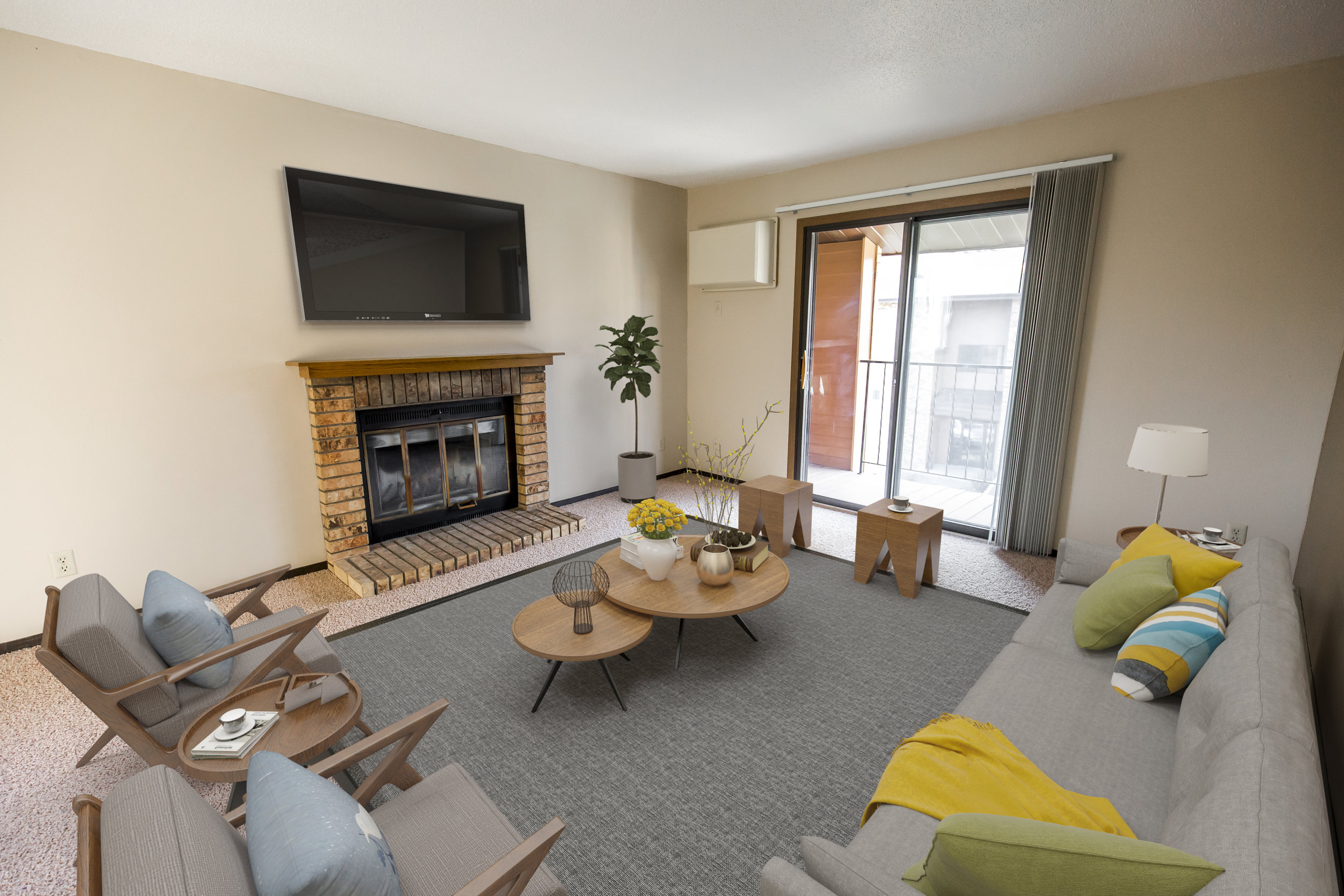 Fireplace are In Select Units that Offer Access to the Balcony or Patio