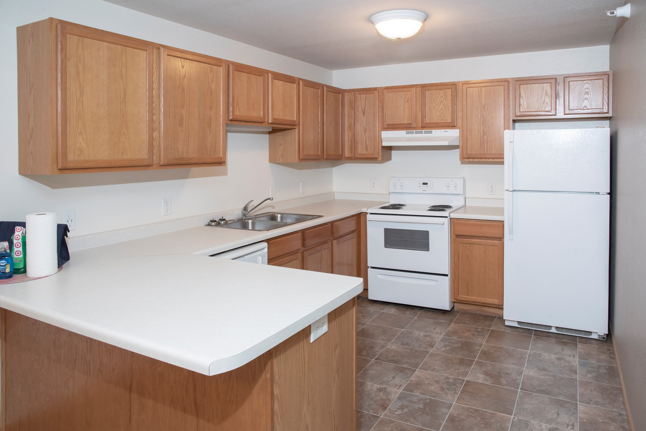 Large Kitchen Cabinets and Laminate Countertops