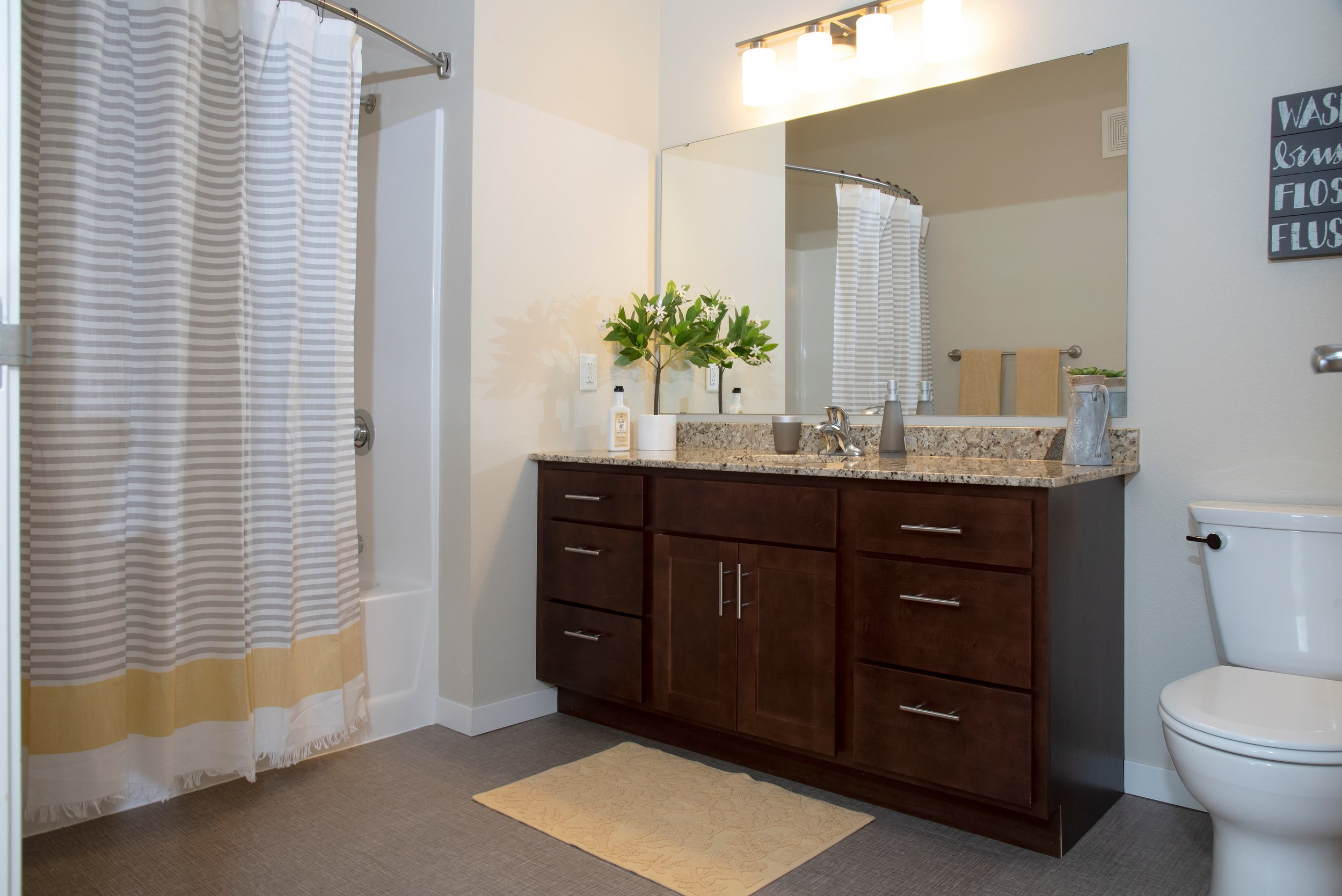 Stylish Bathrooms Feature Granite Bath Counter-tops