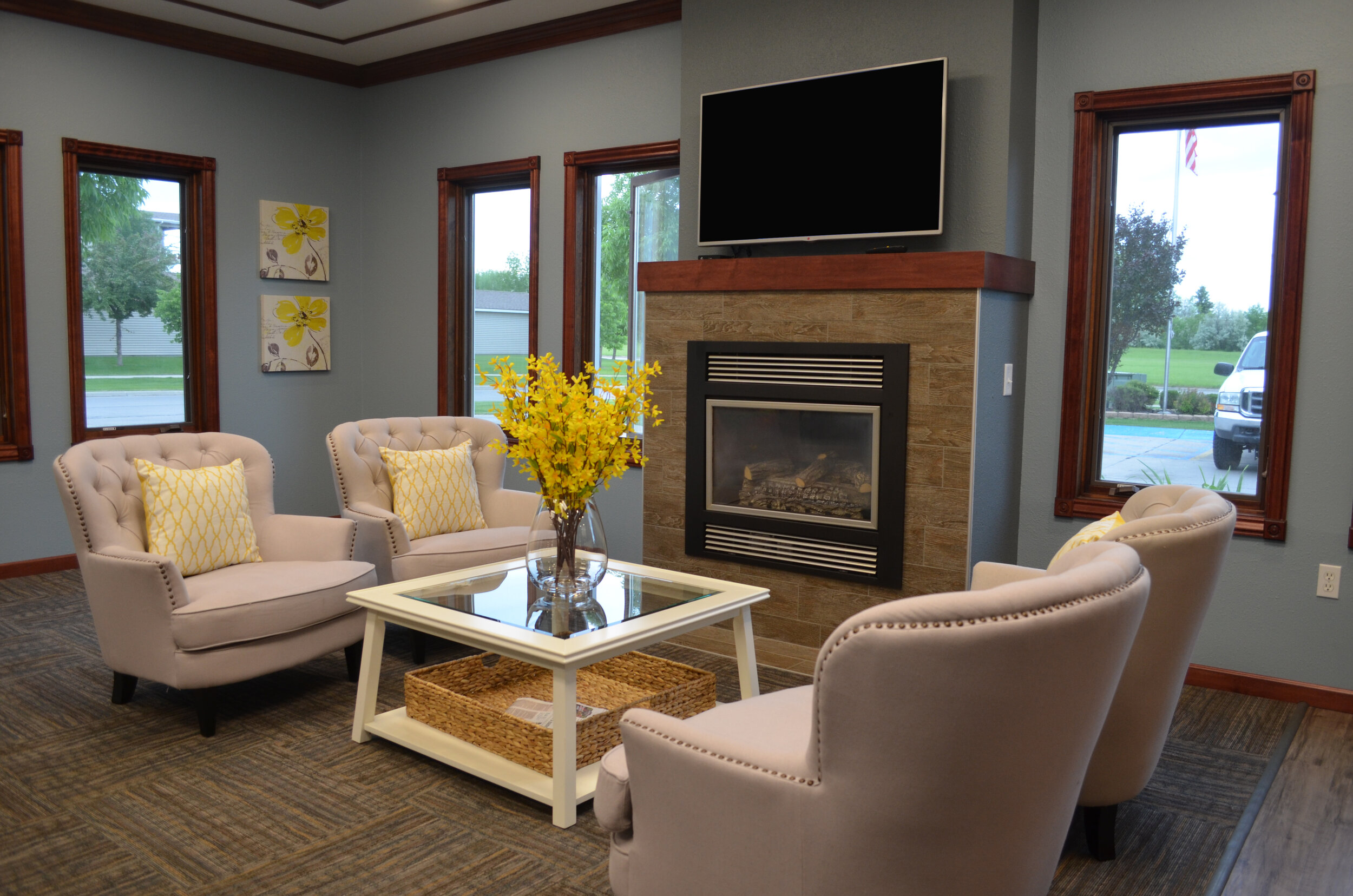 Relax with a Book or with a Friend by the Fireplace