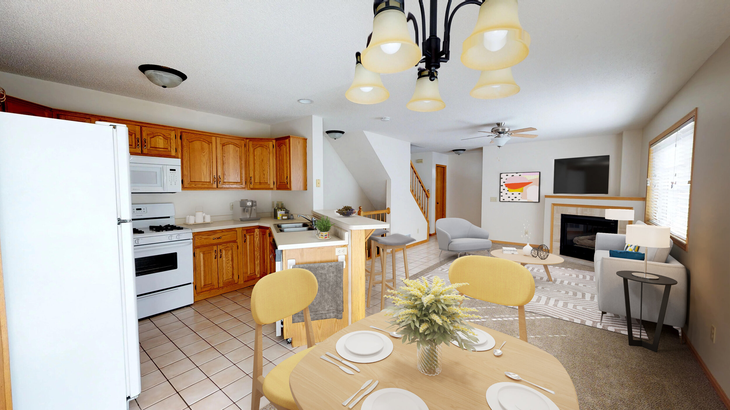 Open Concept Living with Fireplaces in Select Units