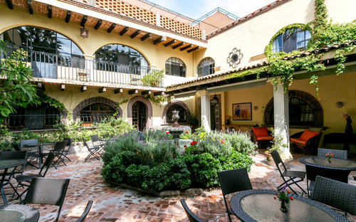One of the many courtyards at Casa de la Noche