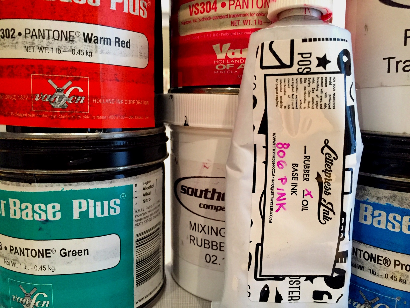 Printing inks from various suppliers.