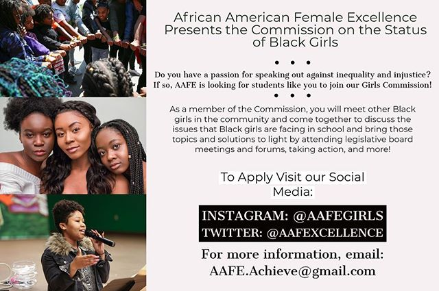 African American Female Excellence is searching for OUSD female High School students to be apart of this years Student Commission Team! Students on the Commission Team will serve as the voices for Black girls in the Oakland school district; They will be going to school board meetings, writing letters to notable individuals, participating in forums, and much more serving as advocates bringing the issues and struggles Black girls are currently facing within these schools to light.  If you have any questions or would like to receive more information, please email AAFE.Achieve@gmail.com  Click the link in our bio for the application!