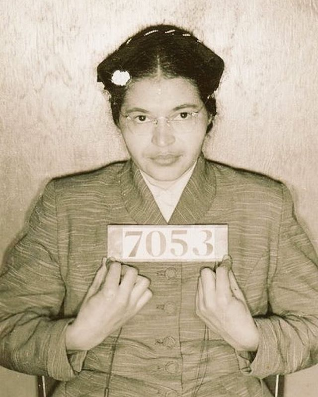 """#OTD Rosa Parks was arrested for refusing to give up her seat on a bus in Montgomery, Alabama on December 1, 1955.  The events triggered a 381-day boycott of the bus system by blacks that was organized by a 26-year-old Baptist minister, the Rev. Martin Luther King Jr."" (Via @naacp)"