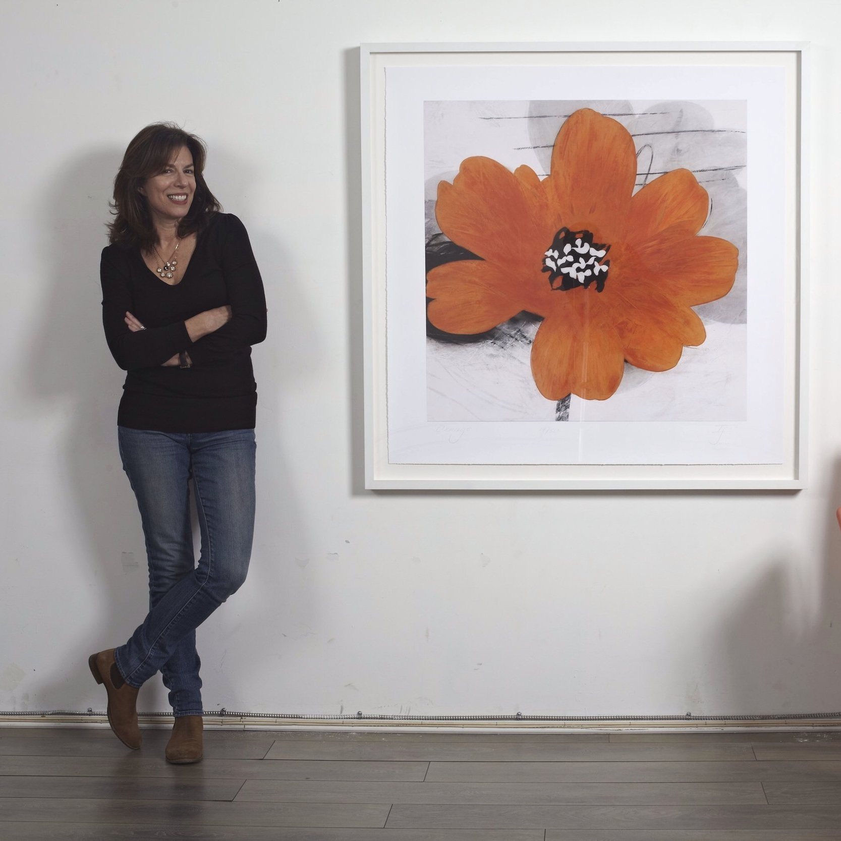 "Louise Lipman with Ivo Stoyanov's ""Orange""."