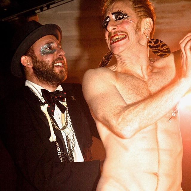 """#tbt to Blunderland number 2!! Back in 2012 at @glitterbombnyc 's #redlotusroom with @tiggerlesque in """"the emperors new strip""""! You can catch Tigger at @houseofyesnyc this Friday in our Burlesque Revue #extraburlesque tickets on our website!!!"""