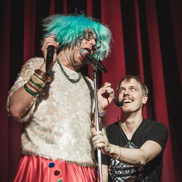Delicious microphones and perfect stage management!!! Getting ready for #blunderland to CUM to New Orleans April 13th at @oej_nola , back in New York on the 19th and 20th, and in London at @bgwmc on the 25th and 26th!!! It's gonna be a crazy few weeks y'all!!!! . . . .  @blancosuave75 is our angel babe, stage manager and a damn fuckin good performance curator as well!!! He heads up the in house performance program at our home club @houseofyesnyc follow this jerks adventure!!! We know we are!!!