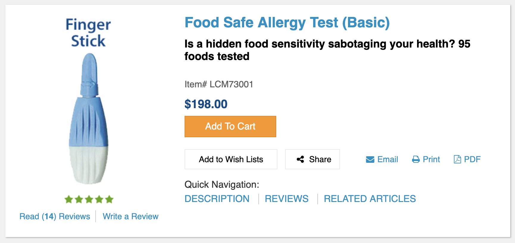 """Though this is marketed as a """"food safe allergy"""" test, it is actually a food  sensitivity  test."""