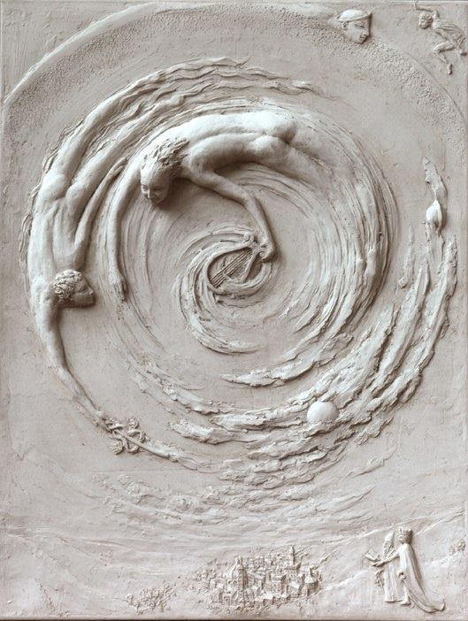 Before Chapter 6. Tanya Russell, UK. Ficino Relief Sculpture. Cold Cast Marble (an illustration for a book on the fables of Ficino).jpeg