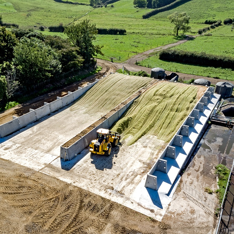 Silage Bunker with Tractor.