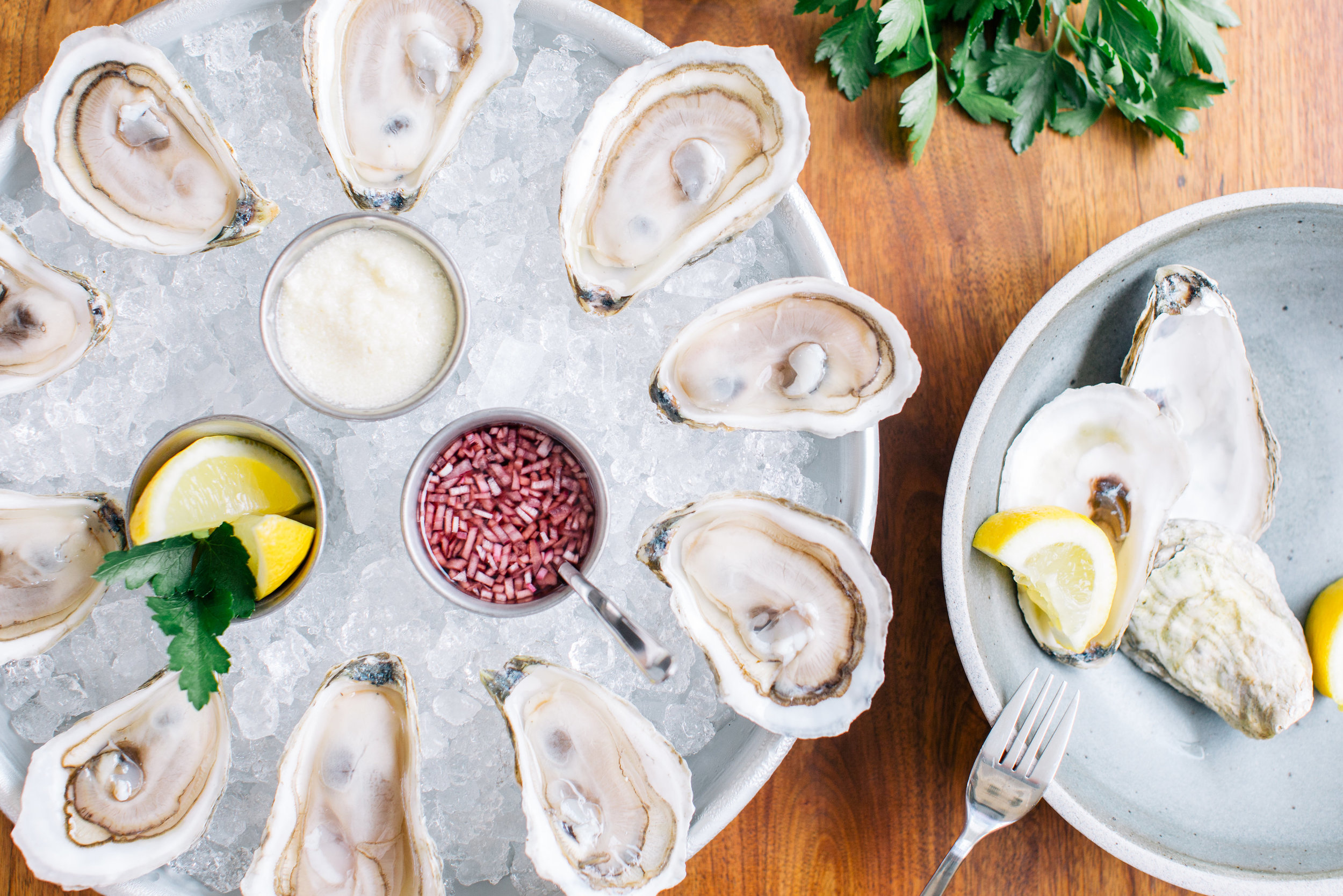 Oysters on ice with mignonette.