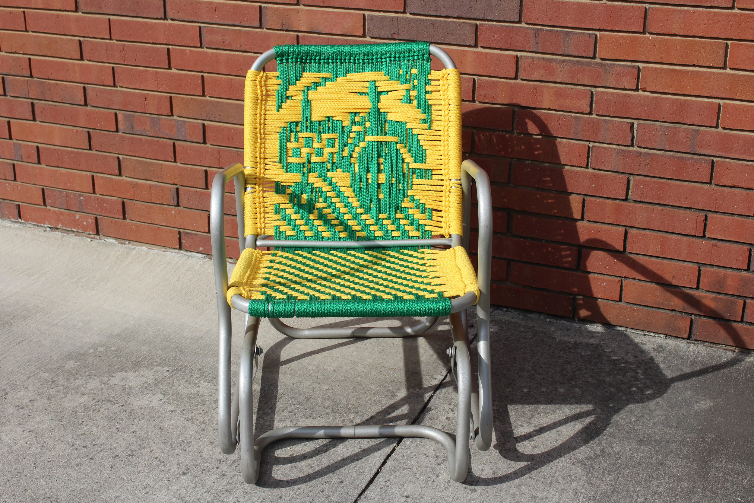 Vintage Aluminum Glider — Tractor Pattern; Sunshine and Kelly Green Cord