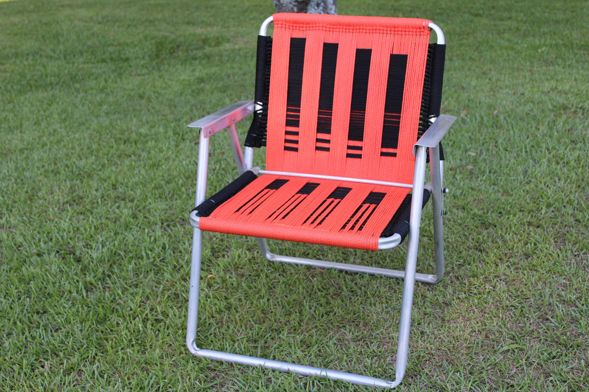 Aluminum Lawn Chair — Orange and Black cord; Custom Design —