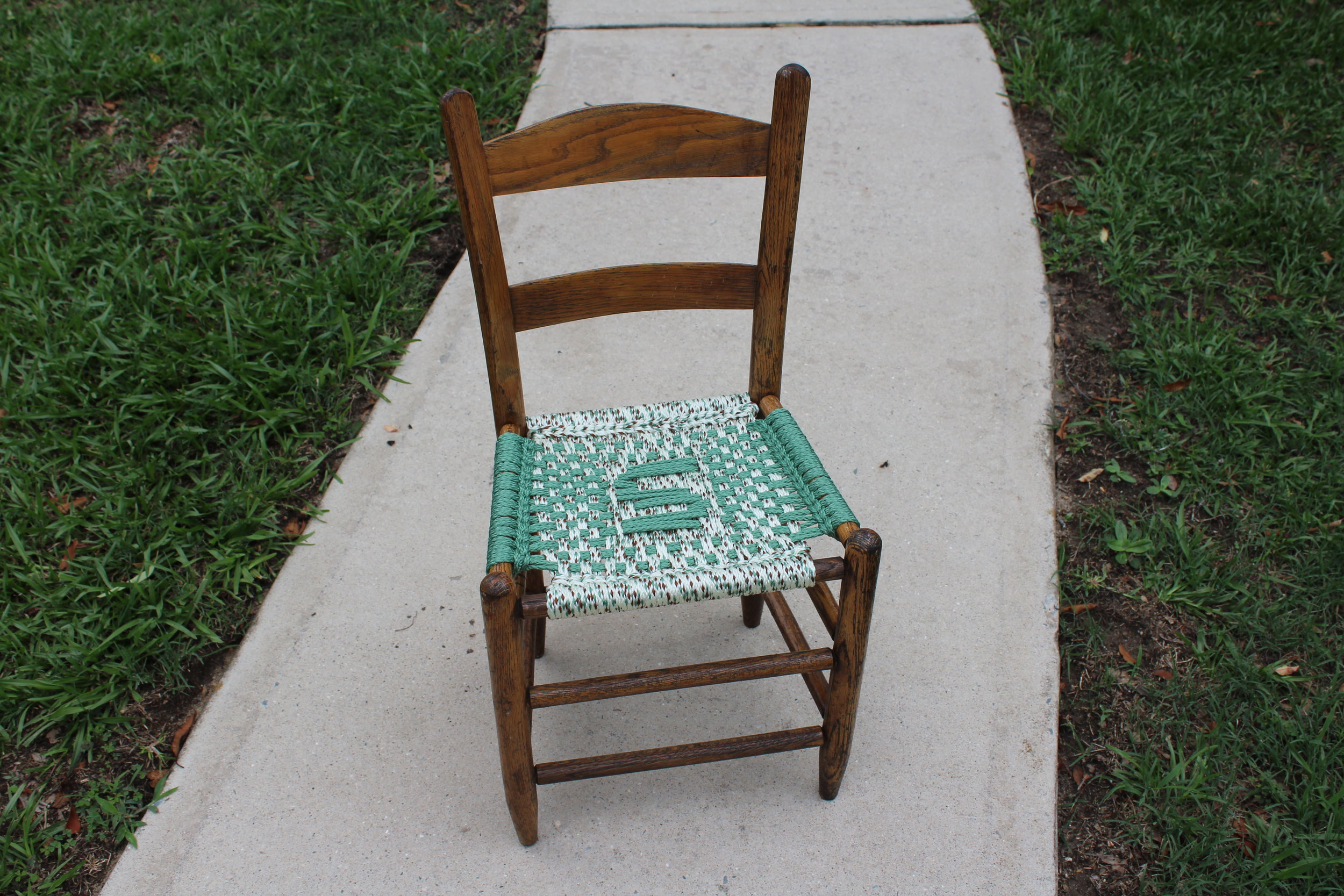 Dark-stained Child's Chair — S-letter Pattern; Sage and Southwest Sage Cord