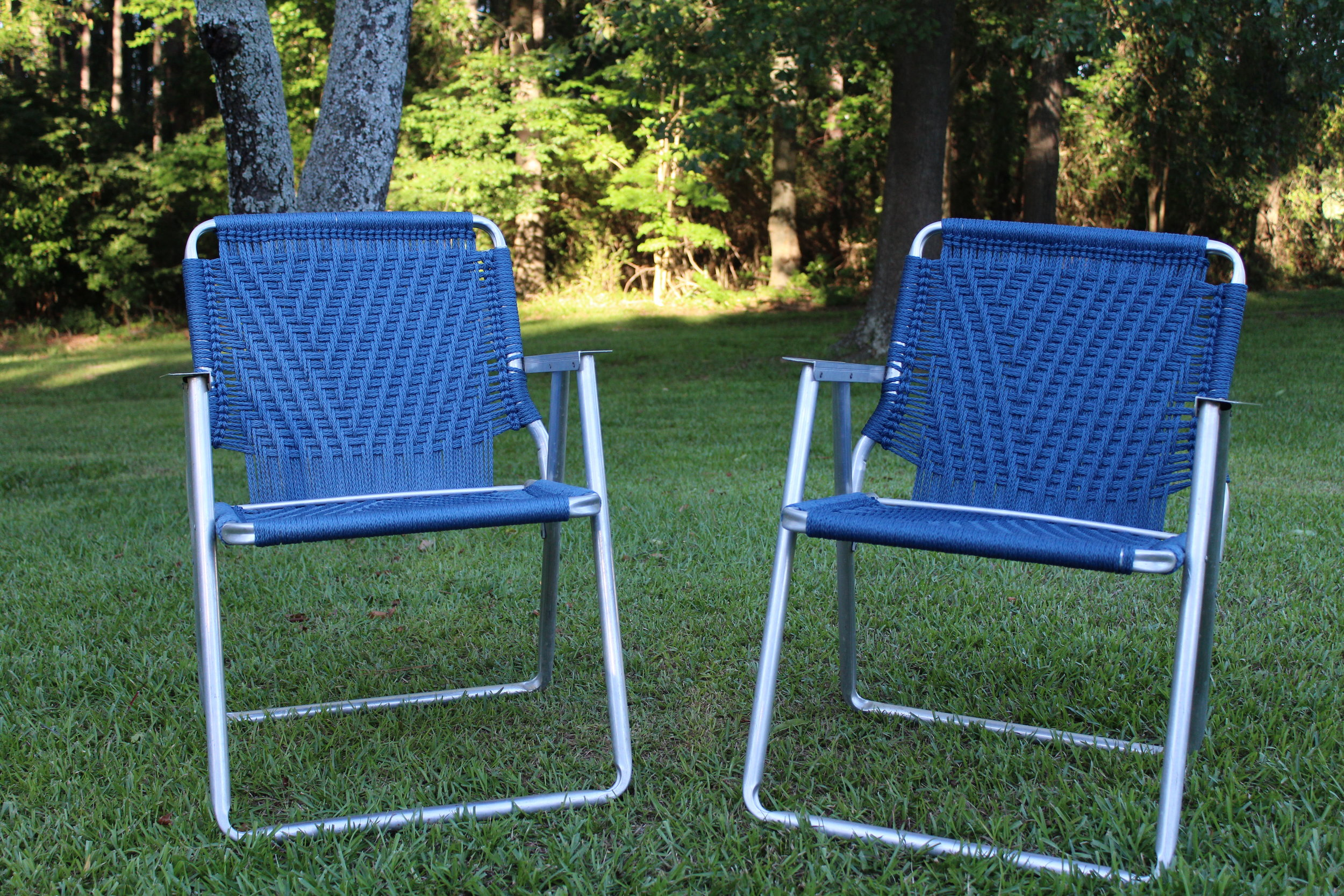 Set of Aluminum Lawn Chairs — Herringbone Pattern; Prussian Blue Cord