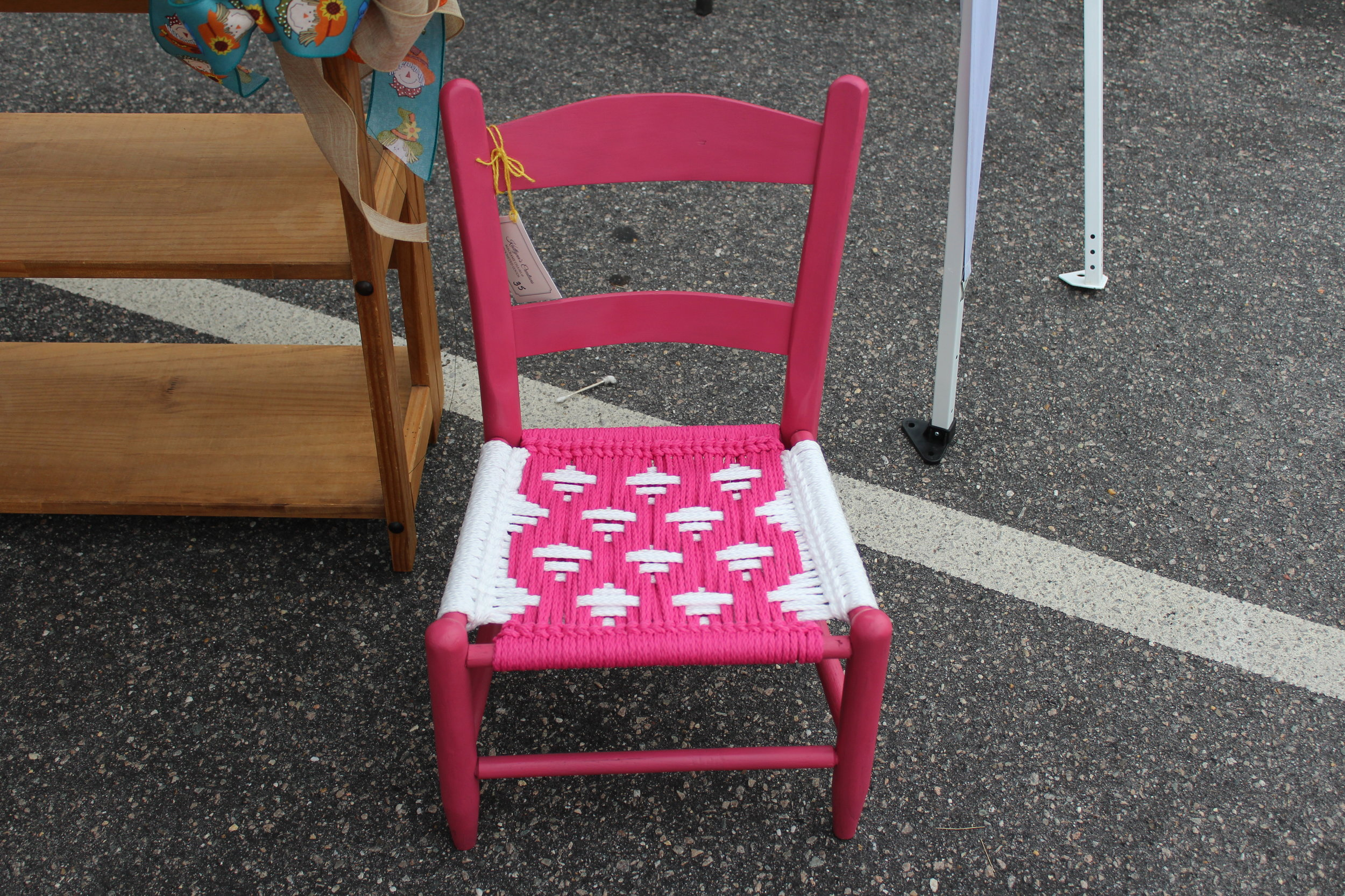 Hot Pink Child's Chair — Bright Days Pattern; Azalea and White Cord